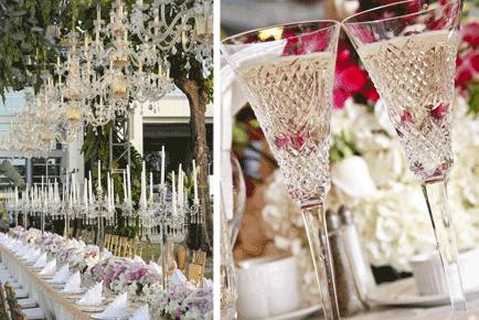 steel de show met bruiloft decoratie